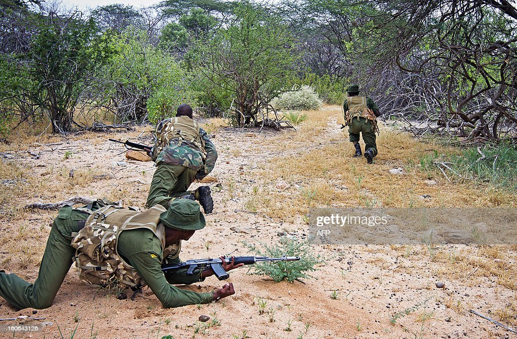 Kenya Wildlife Service (KWS) anti-poaching squad perform a patrol in serach of poachers and displaced elephants through the Kora National Park on January 30, 2013. Wildlife protection groups have expressed concern that the amount of elephant poaching in the African continent is now at its highest for 20 years with an estimated 25,000 elephants killed in 2011. Kenya's worst incident of ivory poaching in recent history took place on January 5, 2013 when an entire family of 11 elephants were killed by poachers in Tsavo National Park, which is home to some 13,000 elephants. Increasing prosperity in China, and a large influx of Chinese workers and investors throughout Africa, has sent demand for African ivory soaring.