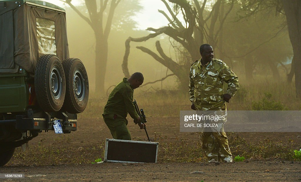 Kenya Wildlife Services (KWS) rangers prepare a tranquiliser gun in Amboseli national park, Kenya on March 14, 2013. The International Fund for Animal Welfare (IFAW) School of Field Studies (SFS) and KWS partnered to fit tracking collars to elephants in and around Amboseli national park. The exercise has cost 100,000 USD and will monitor 6 elephants for 20 months in order ascertain migratory routes and other data. There are currently 60 collared elephants in Kenya of a total national elephant population of around 37,000. AFP PHOTO/Carl de Souza
