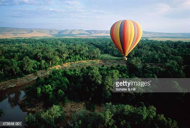 Kenya,Masai Mara,hot air balloon over plains