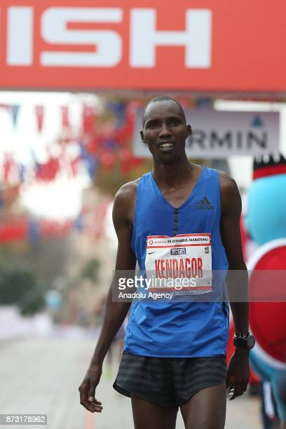 Kenyan Athlete Jacob Kendagor finishes second in 42km run within the Vodafone 39th Istanbul Marathon in Istanbul Turkey on November 12 2017 It is the...