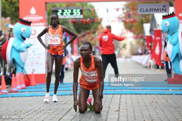 Kenyan athlete Ruth Chepngetich finishes first in women's 42km run within the Vodafone 39th Istanbul Marathon in Istanbul Turkey on November 12 2017...