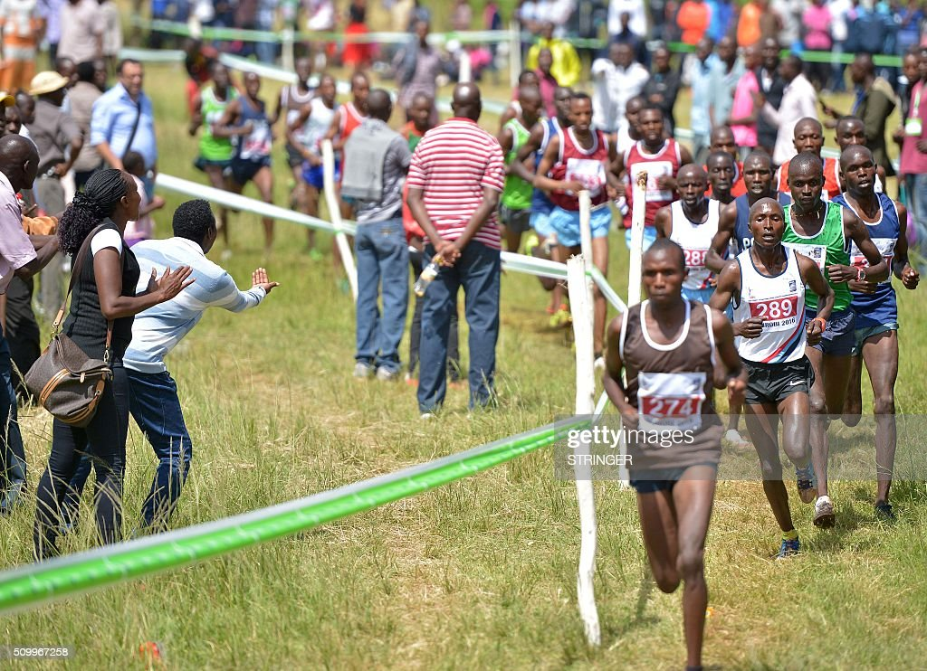 Kenyan athletes compete in the senior men's category February 13, 2016 in the IAAF permit/National Cross Country championships in Nairobi. The World Anti-Doping Agency (WADA) said on February 11 they were 'disturbed' by claims that two banned Kenyan athletes were asked to pay nearly $50,000 as a bribe to have their suspensions cut. Francisca Koki said she and fellow runner Joyce Zakari, suspended for doping violations at the Beijing World Championships, claimed Athletics Kenya chief executive officer Isaac Mwangi asked them for the bribe but they were unable to pay. / AFP / STRINGER