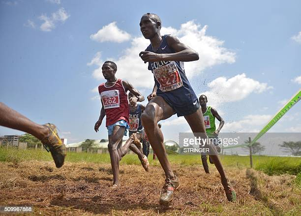 Kenyan athletes compete in the senior men's category on February 13 2016 in the IAAF permit/National Cross Country championships in Nairobi The World...