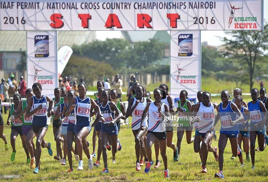 Kenyan athletes compete in the senior women's category February 13, 2016 in the IAAF permit/National Cross Country championships in Nairobi. The World Anti-Doping Agency (WADA) said on February 11 they were 'disturbed' by claims that two banned Kenyan athletes were asked to pay nearly $50,000 as a bribe to have their suspensions cut. Francisca Koki said she and fellow runner Joyce Zakari, suspended for doping violations at the Beijing World Championships, claimed Athletics Kenya chief executive officer Isaac Mwangi asked them for the bribe but they were unable to pay. / AFP / STRINGER