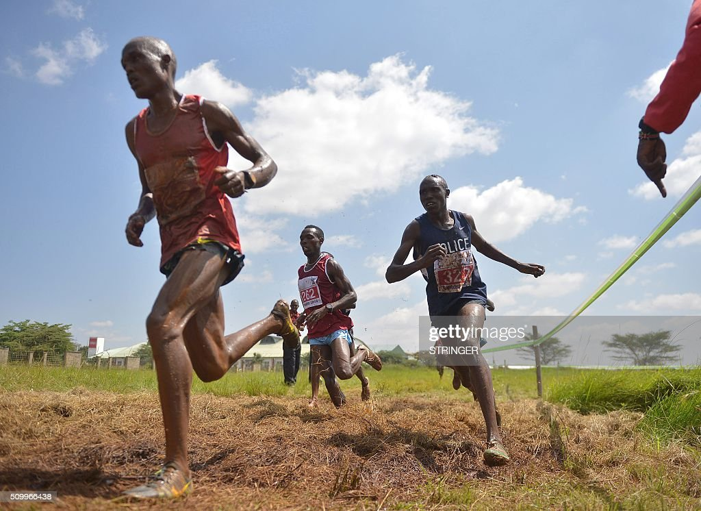 Kenyan athletes compete on February 13, 2016 in the IAAF permit/National Cross Country championships in Nairobi. The World Anti-Doping Agency (WADA) said on February 11 they were 'disturbed' by claims that two banned Kenyan athletes were asked to pay nearly $50,000 as a bribe to have their suspensions cut. Francisca Koki said she and fellow runner Joyce Zakari, suspended for doping violations at the Beijing World Championships, claimed Athletics Kenya chief executive officer Isaac Mwangi asked them for the bribe but they were unable to pay. / AFP / STRINGER