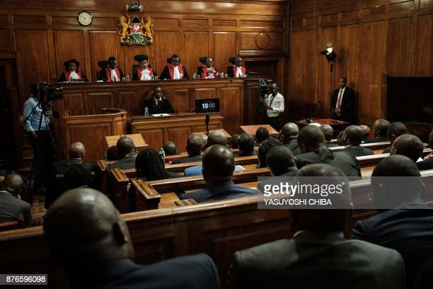 Kenyan Chief Justice David Maraga speaks as the Kenya's Supreme Court on November 20 2017 dismissed two petitions to overturn the country's October...