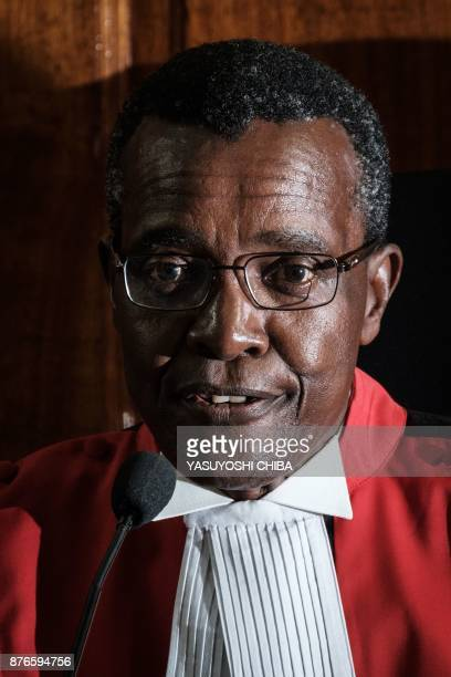 Kenyan Chief Justice David Maraga speaks on November 20 2017 in Nairobi as the Kenya's Supreme Court dismissed two petitions to overturn the...