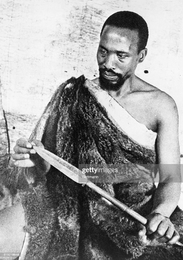 Kenyan nationalist <a gi-track='captionPersonalityLinkClicked' href=/galleries/search?phrase=Jomo+Kenyatta&family=editorial&specificpeople=211508 ng-click='$event.stopPropagation()'>Jomo Kenyatta</a>, dressed in furs and a spear, for a role as an extra in the 1936 English colonial adventure film Sanders of the River. The film's story is situated in West Africa. Though jailed by the colonial authorities in 1953, Kenyatta justly denied any role in instigating the rebellion, and he later became a key figure in negotiating Kenyan independence from Britain.
