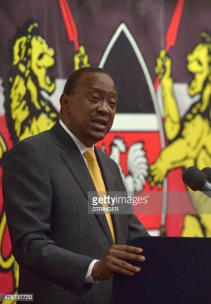 Kenyan President Uhuru Kenyatta addresses the closing session of a threeday regional conference on countering violent extremism in Nairobi on June 27...