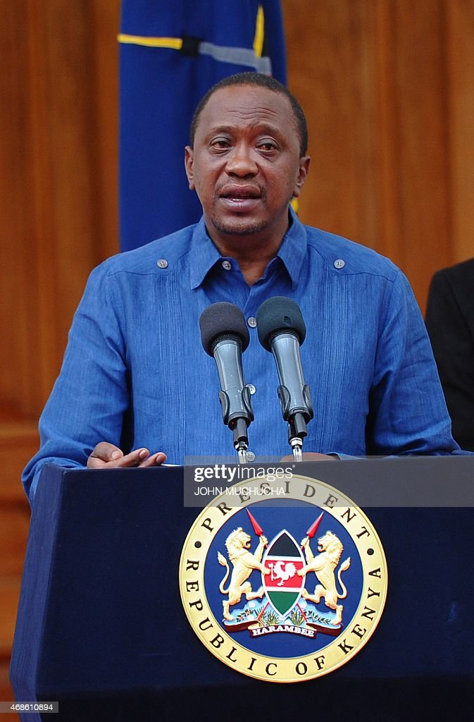 Kenyan President Uhuru Kenyatta addresses the Nation at the State House capital Nairobi on April 4, 2015 where he declared 3 days of national mourning following the Garissa University College terror attack and promised to support the victims. Kenyatta on Saturday warned Somalia's Al-Qaeda-linked Shebab fighters his government will respond to their killing of almost 150 students in the 'severest way' possible.