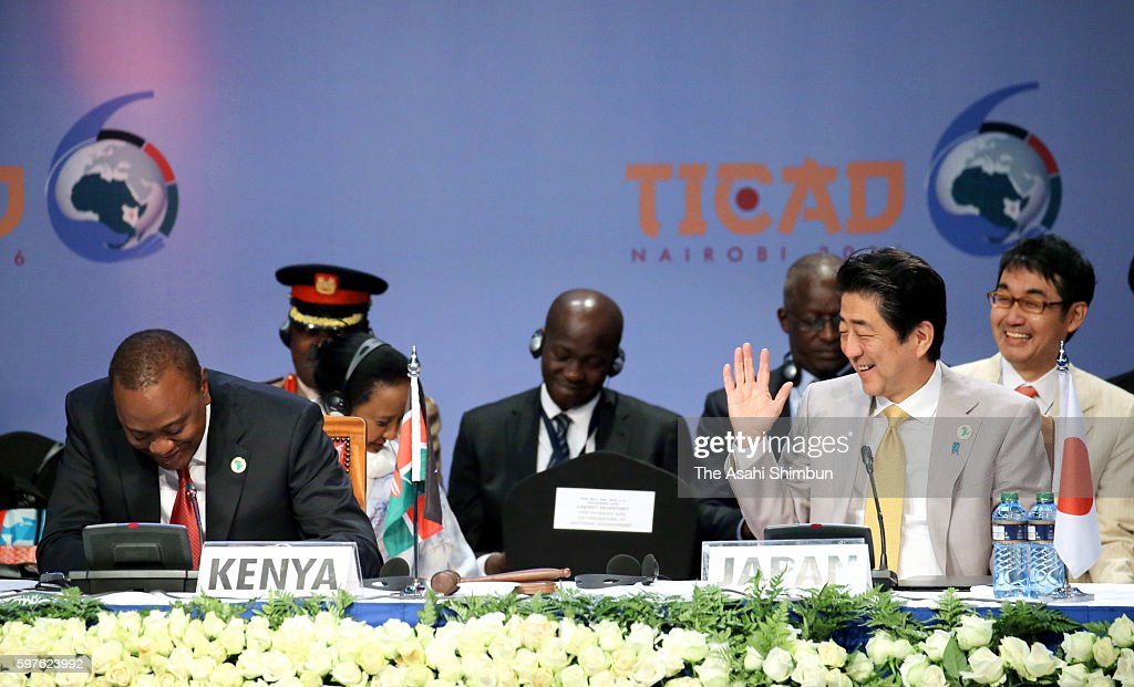 Kenyan President Uhuru Kenyatta and Japanese Prime Minister Shinzo Abe attend the plenary session of the Tokyo International Conference on African...