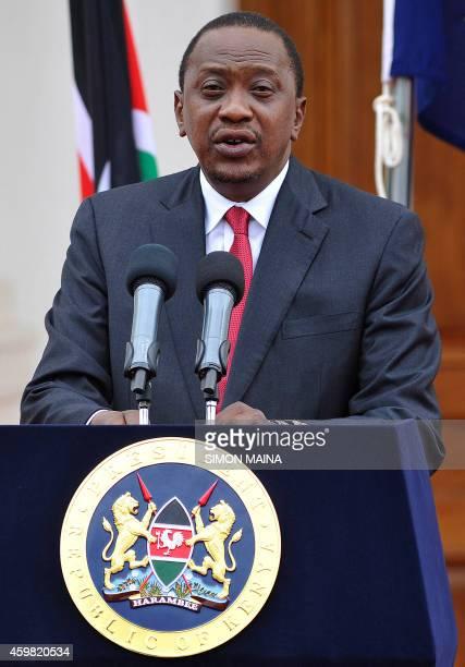 Kenyan President Uhuru Kenyatta delivers his state of the nation speech at the State House in Nairobi on December 2 2014 Kenyatta warned Somalia's...
