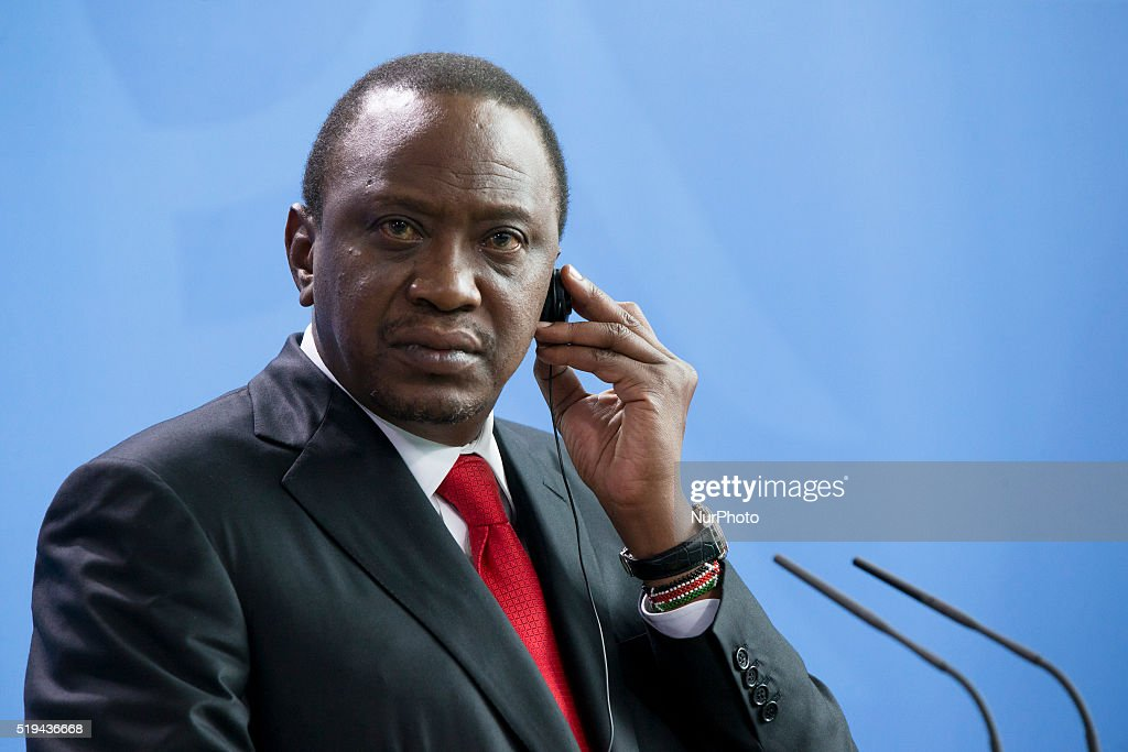 Kenyan President <a gi-track='captionPersonalityLinkClicked' href=/galleries/search?phrase=Uhuru+Kenyatta&family=editorial&specificpeople=2149190 ng-click='$event.stopPropagation()'>Uhuru Kenyatta</a> is pictured during a news conference held with German Chancellor <a gi-track='captionPersonalityLinkClicked' href=/galleries/search?phrase=Angela+Merkel&family=editorial&specificpeople=202161 ng-click='$event.stopPropagation()'>Angela Merkel</a> at the Chancellery on April 6, 2016 in Berlin, Germany.