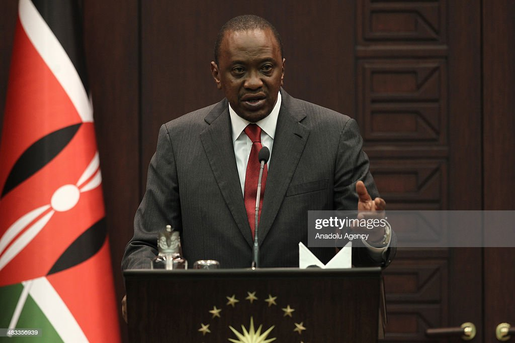 Kenyan President Uhuru Kenyatta speaks during a joint press conference with his Turkish counterpart Abdullah Gul following their meeting at the...