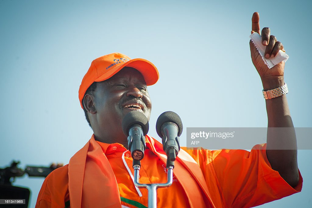 Kenyan Prime Minister Raila Odinga speaks at a CORD Coalition rally in Malindi on February 9 2013 part of campaigning for the upcoming presidential, parliamentary and local elections on March 4. The risk of political violence in Kenya is 'perilously high' ahead of next month's election, the first since bloody post-poll violence five years ago, Human Rights Watch (HRW) warned. AFP PHOTO/Will Boase