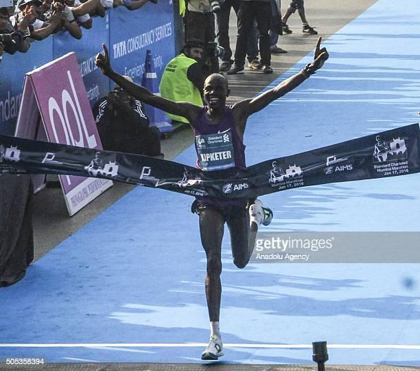 Kenyan runner Gideon Kipketer comes first in the men's race during the 2016 Mumbai Marathon in Mumbai on January 17 2016 Thousands of people turned...