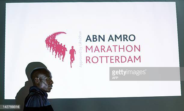 Kenyan top athlete Moses Mosop dattends the press conference of the Rotterdam Marathon in Rotterdam The Netherlands on April 12 2012 Mosop and his...