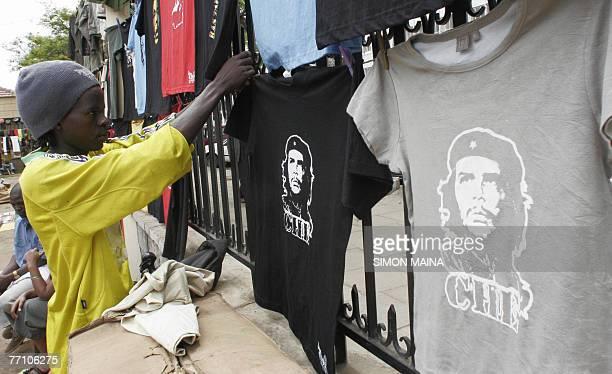 A Kenyan vendor puts up Tshirts diplaying Argentineborn guerrilla leader Ernesto 'Che' Guevara for sale at the Maasai 29 September 2007 market in...
