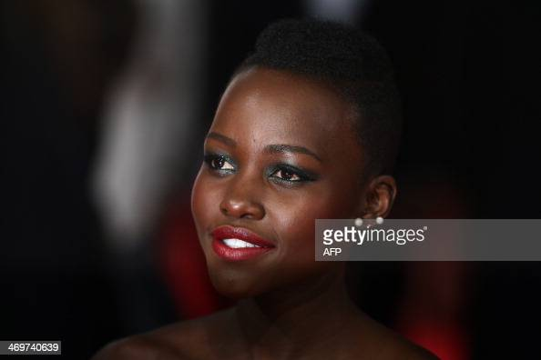 KenyanMexican actress and director Lupita Nyong'o arrives on the red carpet for the BAFTA British Academy Film Awards at the Royal Opera House in...