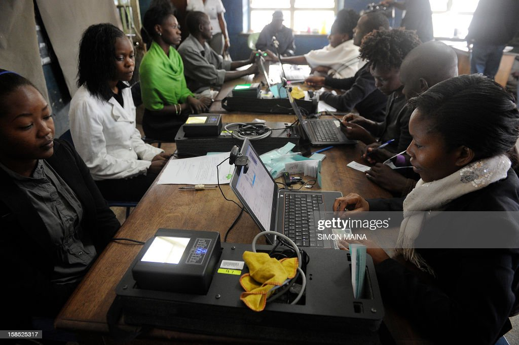 Kenyans register as voters for next years general elections in March, in December 18, 2012 in Nairobi .The Independent Electoral and Boundaries Commission (IEBC) has taken biometric computer equipment to populations in remote tribal areas in order to ensure that the chance of voting fraud is decreased for the country's forthcoming elections in March 2013. The BVR kits, which will be used in next year's polls, are said to be the only way of eliminating rigging and other malpractices that characterised the 2007 presidential polls.