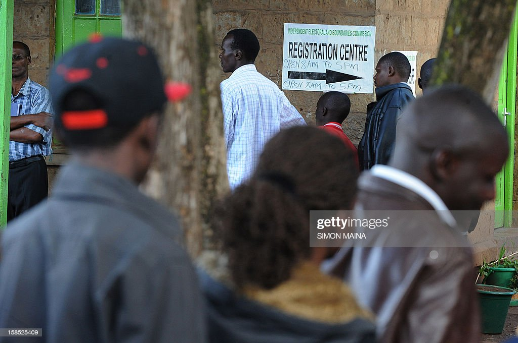 Kenyans register as voters for next years general elections in March, in December 18, 2012 in Nairobi .The Independent Electoral and Boundaries Commission (IEBC) has taken biometric computer equipment to populations in remote tribal areas in order to ensure that the chance of voting fraud is decreased for the country's forthcoming elections. The BVR kits, which will be used in next year's March polls, are said to be the only way of eliminating rigging and other malpractices that characterised the 2007 presidential polls.