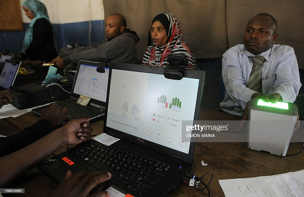 Kenyans register as voters for the next years general elections in March, in December 18, 2012 in Nairobi .The Independent Electoral and Boundaries Commission (IEBC) has taken biometric computer equipment to populations in remote tribal areas in order to ensure that the chance of voting fraud is decreased for the country's forthcoming elections. The BVR kits, which will be used in next year's March polls, are said to be the only way of eliminating rigging and other malpractices that characterised the 2007 presidential polls.