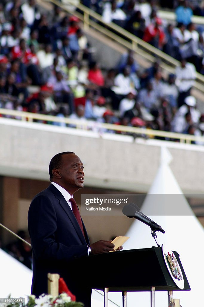Kenya's 4th President Uhuru Kenyatta delivers his first speech as President on April 9, 2013 in Nairobi, Kenya. Kenyatta received masses of support from the citizens of Kenya despite being under investigation for crimes against humanity.