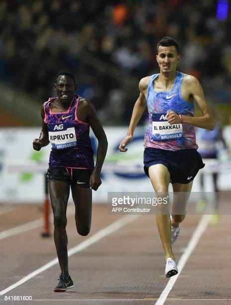 Kenya's Conseslus Kipruto and Morocco's El Bakkali competes in the men's 3000 metres steeple event during the AG Insurance Memorial Van Damme...