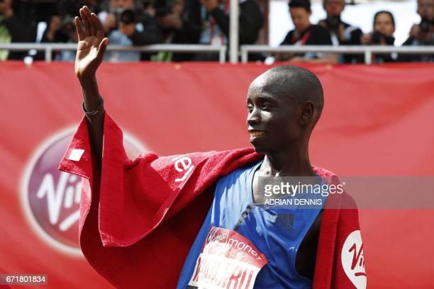 Kenya's Daniel Wanjiru celebrates after winning the Men's elite race at the London marathon on April 23 2017 in London Kenya's Daniel Wanjiru...