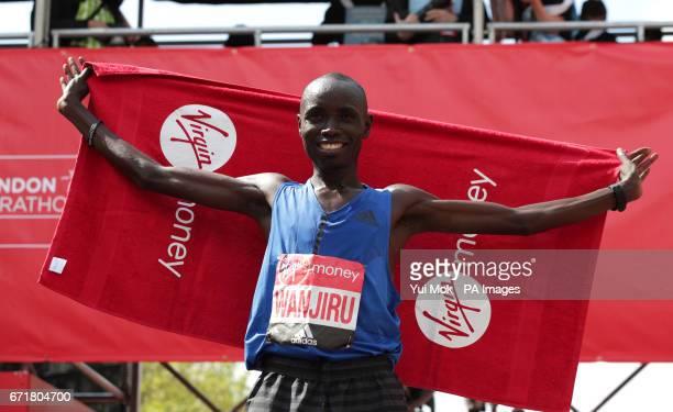 Kenya's Daniel Wanjiru celebrates winning the Virgin Money London Marathon London PRESS ASSOCIATION Picture date Sunday April 23 2017 See PA story...