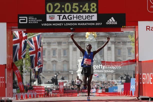 Kenya's Daniel Wanjiru wins the Men's elite race at the London marathon on April 23 2017 in London Kenya's Daniel Wanjiru recorded the greatest win...