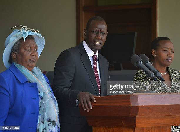 Kenya's deputypresident William Samoei Ruto gives a press conference flanked by his wife Rachel and mother Sarah on April 8 2016 at his stateoffice...