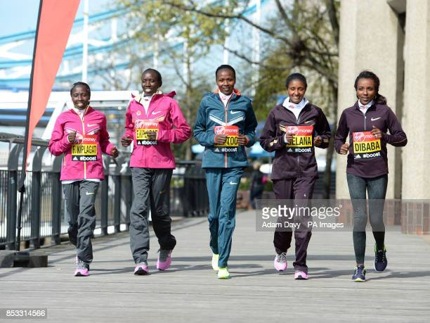 Kenya's Edna Kiplagat Florence Kiplagat Kenya's Priscah Jeptoo Ethiopia's Tiki Gelana and Ethiopia's Tirunesh Dibaba during the photocall at Tower...