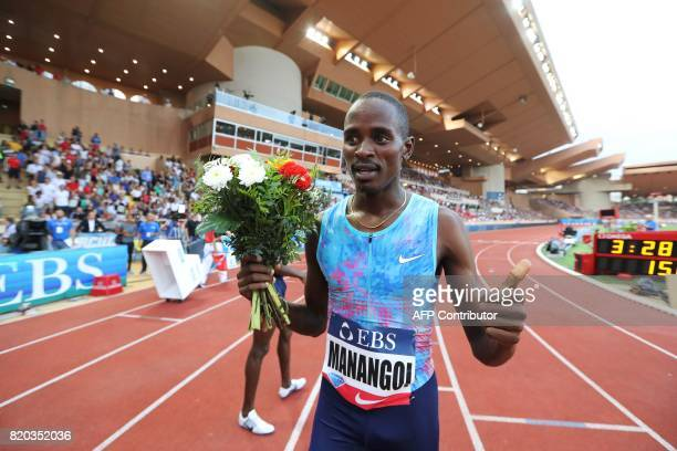 Kenya's Elijah Motonei Manangoi reacts after winning the men's 1500m event at the IAAF Diamond League athletics meeting in Monaco on July 21 2017 /...