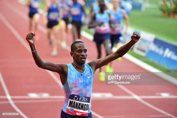 Kenya's Elijah Motonei Manangoi reacts as he winns the men's 1500m event at the IAAF Diamond League athletics meeting in Monaco on July 21 2017 / AFP...