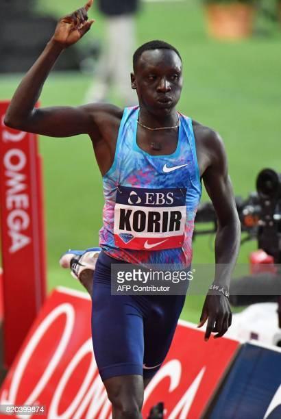 Kenya's Emmanuel Korir runs Past the finish line to win the men's 800m event at the IAAF Diamond League athletics meeting in Monaco on July 21 2017 /...