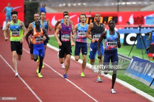 Kenya's Emmanuel Korir runs to win the men's 800m event at the IAAF Diamond League athletics meeting in Monaco on July 21 2017 / AFP PHOTO / Yann...
