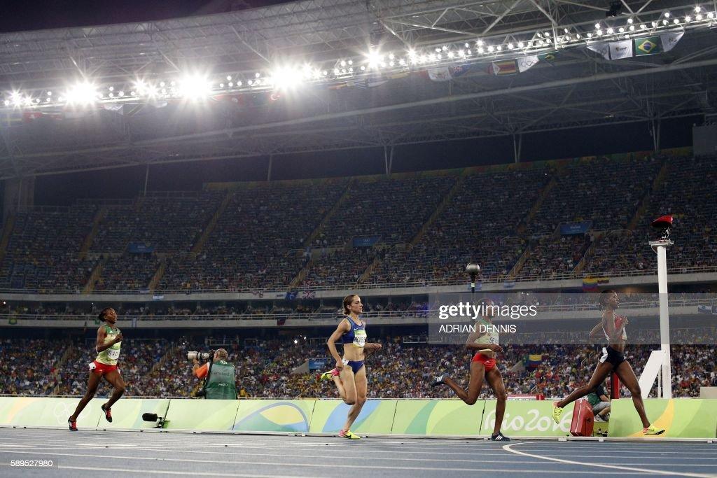 Kenya's Faith Chepngetich Kipyegon Ethiopia's Dawit Seyaum USA's Shannon Rowbury and Ethiopia's Besu Sado compete in the Women's 1500m Semifinal...