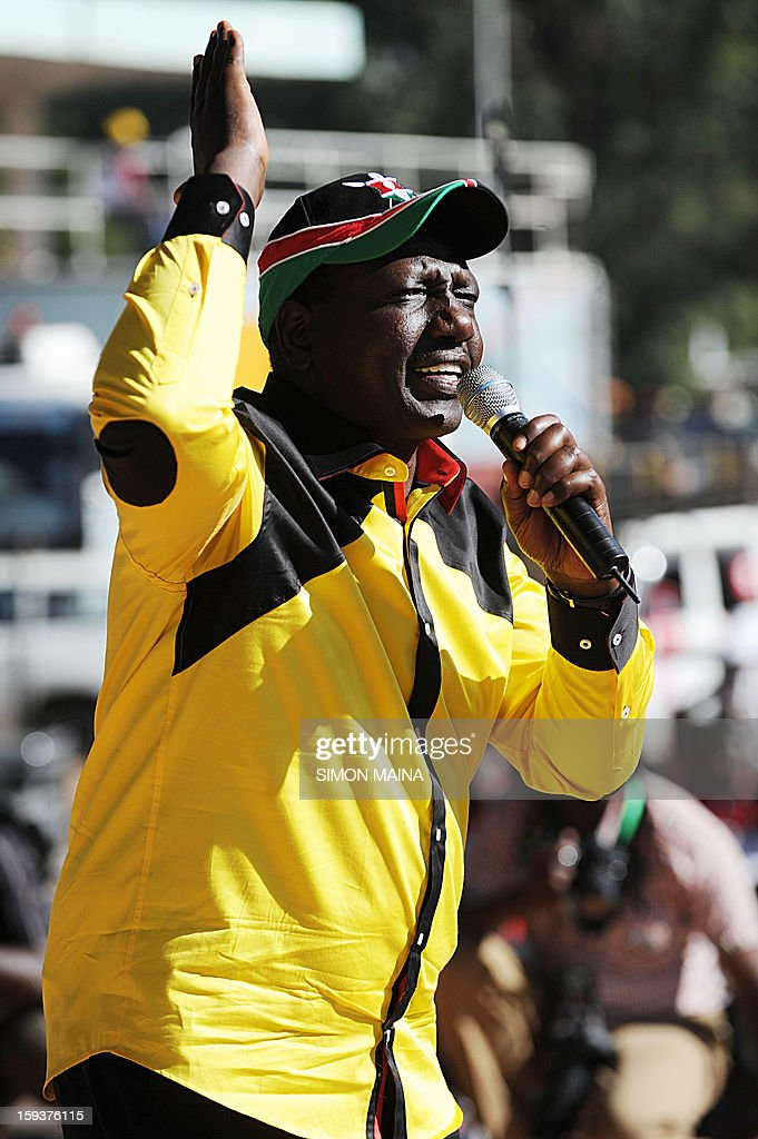 Kenya's former Cabinet Minister and Jubilee alliance's William Ruto, running mate of presidential candidate Uhuru Kenyatta, delivers a speech during a political rally at Uhuru park in Nairobi, on January 12, 2013. Uhuru Kenyatta, whose trial for crimes against humanity over post-election violence five years ago is due to begin in April, launched his campaign for president on January 12 by warning against foreign interference. 'We want to tell the world to let Kenyans decide... we have offered our candidacy and it is up to Kenyans to decide on their leadership,' Kenyatta told tens of thousands of supporters at a political rally in Nairobi.