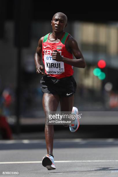 Kenya's Geoffrey Kipkorir Kirui competes in the men's marathon athletics event at the 2017 IAAF World Championships in central London on August 6...