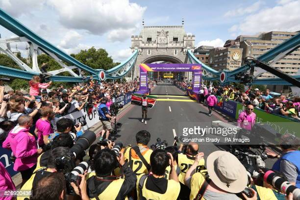 Kenya's Geoffrey Kipkorir Kirui wins the Men's Marathon during day three of the 2017 IAAF World Championships at the London Stadium