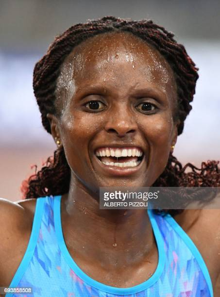 Kenya's Hellen Obiri reacts after winning the women's 5000m event during the Rome IAAF Diamond League athletics competition on June 8 2017 at the...