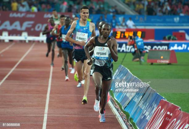 Kenya's Lawrence Kemboi Kipsang leads the pack in the 3000m steeplechase at the IAAF Diamond League Mohammed VI Athletics meeting in Rabat on July 16...