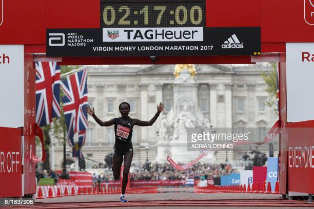 Kenya's Mary Keitany wins the women's elite race at the London marathon on April 23 2017 in London Kenya's Mary Keitany won a third London Marathon...