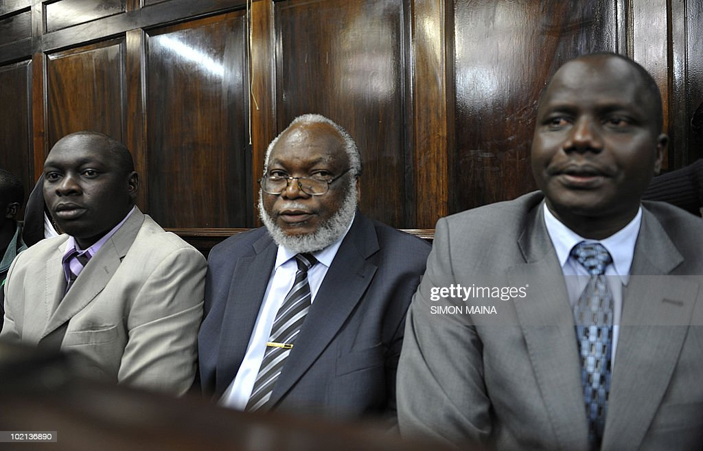 Kenya's members of parliament (L-R) Joshua Kutuny, Wilfred Michage and Fred Kapondi, sit on the bench of the defence as they appear in Kenya's High Court in Nairobi on June 16, 2010. Kenyan police on tuesday june 15, 2010 arrested three top politicians for hate speechs they allegedly made during rallies against a draft constitution, days after a separate rally turned deadly when grenade attacks killed six people.