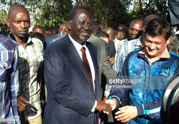 Kenya's opposition leader Raila Odinga arrives for a press conference on August 16 2017 at the offices of the National Super Alliance coalition in...