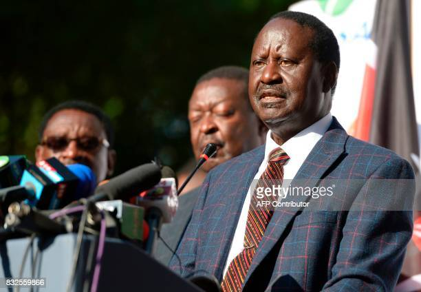 Kenya's opposition leader Raila Odinga gives a press conference on August 16 2017 at the offices of the National Super Alliance coalition in Nairobi...