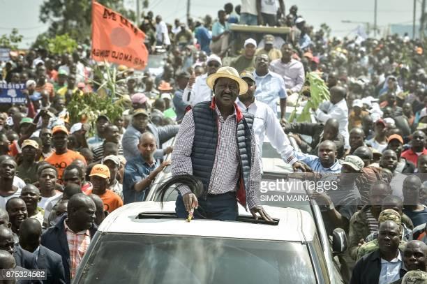 TOPSHOT Kenya's opposition party National Super Alliance leader Raila Odinga looks on during a demonstraiton on November 17 2017 in Nairobi...