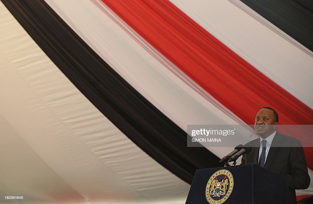 Kenya's President Uhuru Kenyatta addresses a special inter-religious prayer service for the people killed and injured in the recent Westgate shopping mall attack in the capital Nairobi, on October 1, 2013. Until the Nairobi mall carnage, Uhuru Kenyatta was a beleaguered and divisive president. But his own bereavement and new clothes as commander-in-chief have earned him fresh support and, some say, a 'get out of jail free card' for the International Criminal Court. The deadly September 21 raid on the Westgate mall brings new challenges to the government, which now has to explain why it failed to act on repeated warnings and find ways to thwart future attacks.