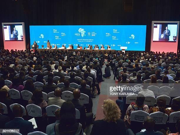 Kenya's President Uhuru Kenyatta addresses delegates on December 15 2015 at the official opening of the Tenth World Trade Organisation ministerial...